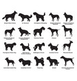 set dogs silhouettes-6 vector image vector image