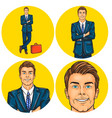 set mens pop art round vector image