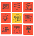 set of 9 project management icons includes report vector image vector image