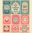 set of 9 vintage labels vector image vector image