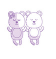 silhouette cute animal couple bear together vector image vector image
