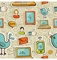 Social media cartoon pattern vector image