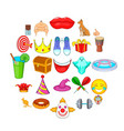 spectacle icons set cartoon style vector image