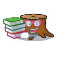 student with book tree stump mascot cartoon vector image