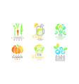 summer vegan eating and vegetarian menu logo vector image