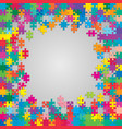 the colorful pieces puzzle banner or frame vector image