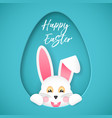 the easter bunny looks out of the hole in the vector image