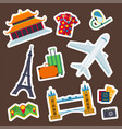 travel icons flat tourism vacation place vector image