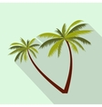 Two coconut palm trees icon flat style vector image vector image