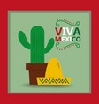 viva mexico hat and potted cactus card invitation vector image vector image