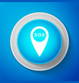 white marker location with sos icon isolated vector image vector image