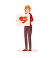 woman holding poster vector image