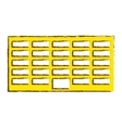 yellow city office building line sticker vector image vector image