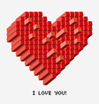 a pixel heart in perspective vector image