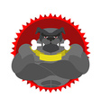 Angry dog Round emblem Large Bulldog bodybuilder vector image
