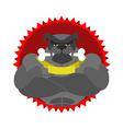Angry dog Round emblem Large Bulldog bodybuilder vector image