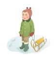 Baby girl stands on the snow with sled vector image