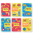 breed cats brochure cards thin line set vector image