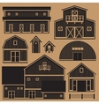 Buildings set with farm - monochrome vector image vector image