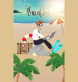 businessman working on beach vector image vector image