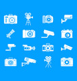 camera icon blue set vector image vector image