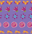 colorful abstract summer flowers on a purple vector image vector image