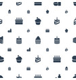 cupcake icons pattern seamless white background vector image vector image