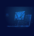 email on laptop low poly blue vector image vector image