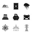 energy sources icon set simple style vector image vector image