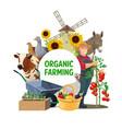 farmer farm animals and garden vegetables vector image vector image