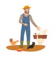 farmer feeding chickens and geese on farm vector image
