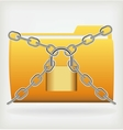 Folder locked by chains vector image