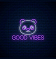 good vibes glowing neon inscription phrase with vector image vector image