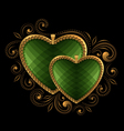 green faceted hearts vector image