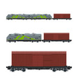 green locomotive with closed wagon on platform vector image vector image