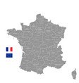 grey political map france vector image vector image