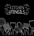 kitchen utensils background decoration design vector image vector image