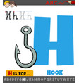 letter h from alphabet with cartoon hook object