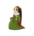 majestic queen in golden crown sitting on wooden vector image vector image