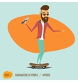 male hipster rides on a skateboard vector image vector image