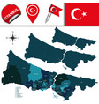 map of istanbul with districts vector image vector image