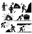 mining worker miner labor stick figure pictograph vector image vector image