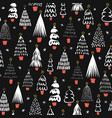modern abstract christmas trees black on white vector image vector image