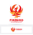 phoenix logo fire bird logo flat and modern design vector image vector image