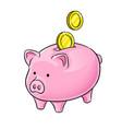 piggy bank and golden coins pop art vector image