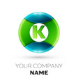 realistic letter k logo symbol in colorful circle vector image vector image