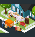 relocation isometric composition vector image vector image
