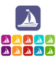 sailing ship icons set vector image vector image