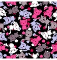 Seamless pattern with cute kawaii doodle cats vector image vector image