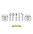 set of dental floss type - cartoon outline style vector image vector image